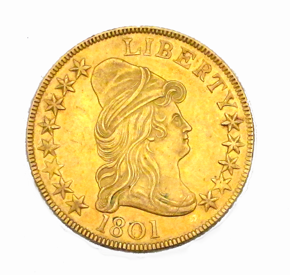 1801 Capped Bust $10 Gold ($10,000-15,000)