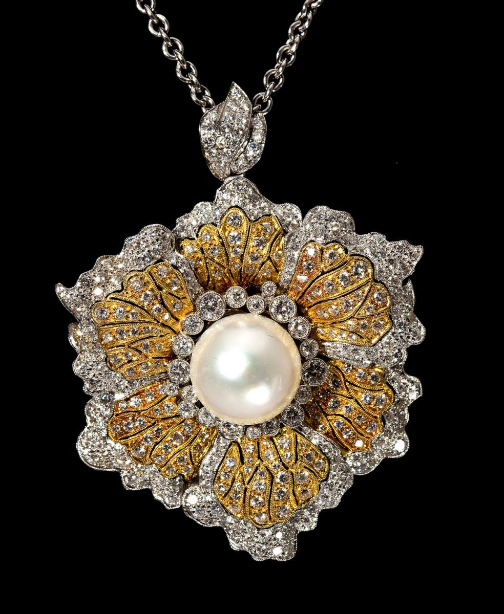 5.9 CTW Diamond & Pearl Flower Pendant ($4,700)