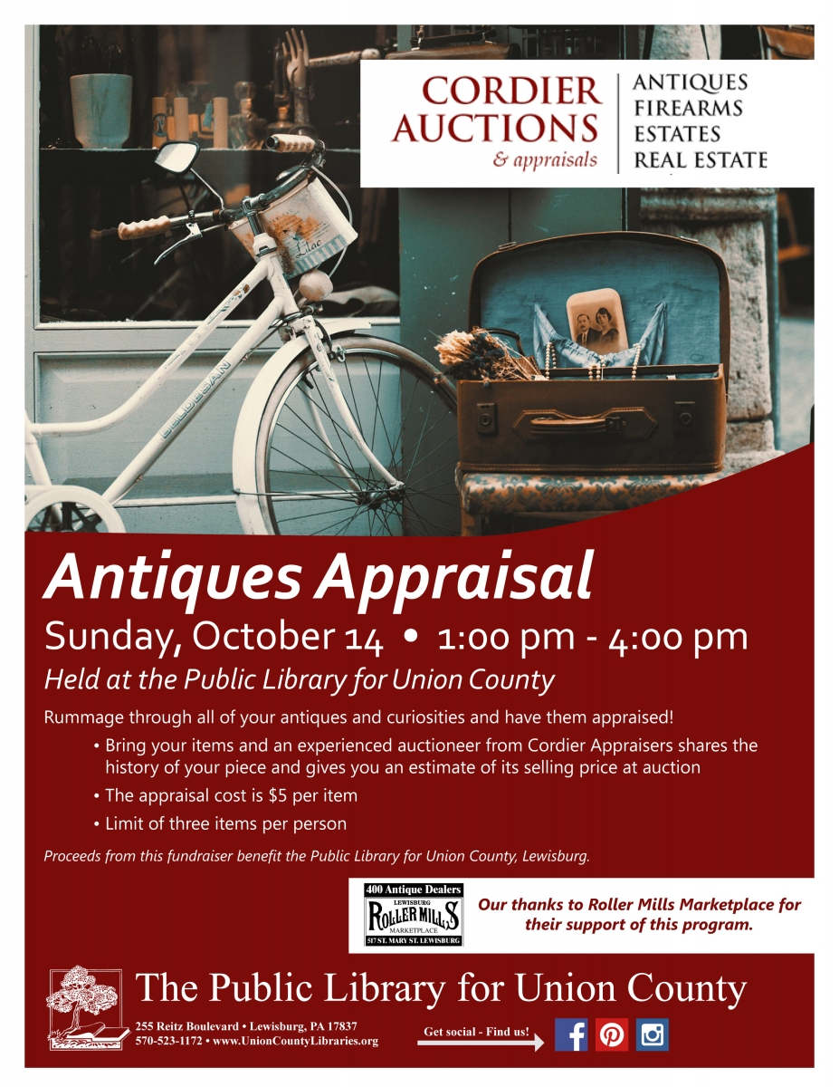 A flyer for the appraisal clinic, showing an antique bicycle. Click the image for more information
