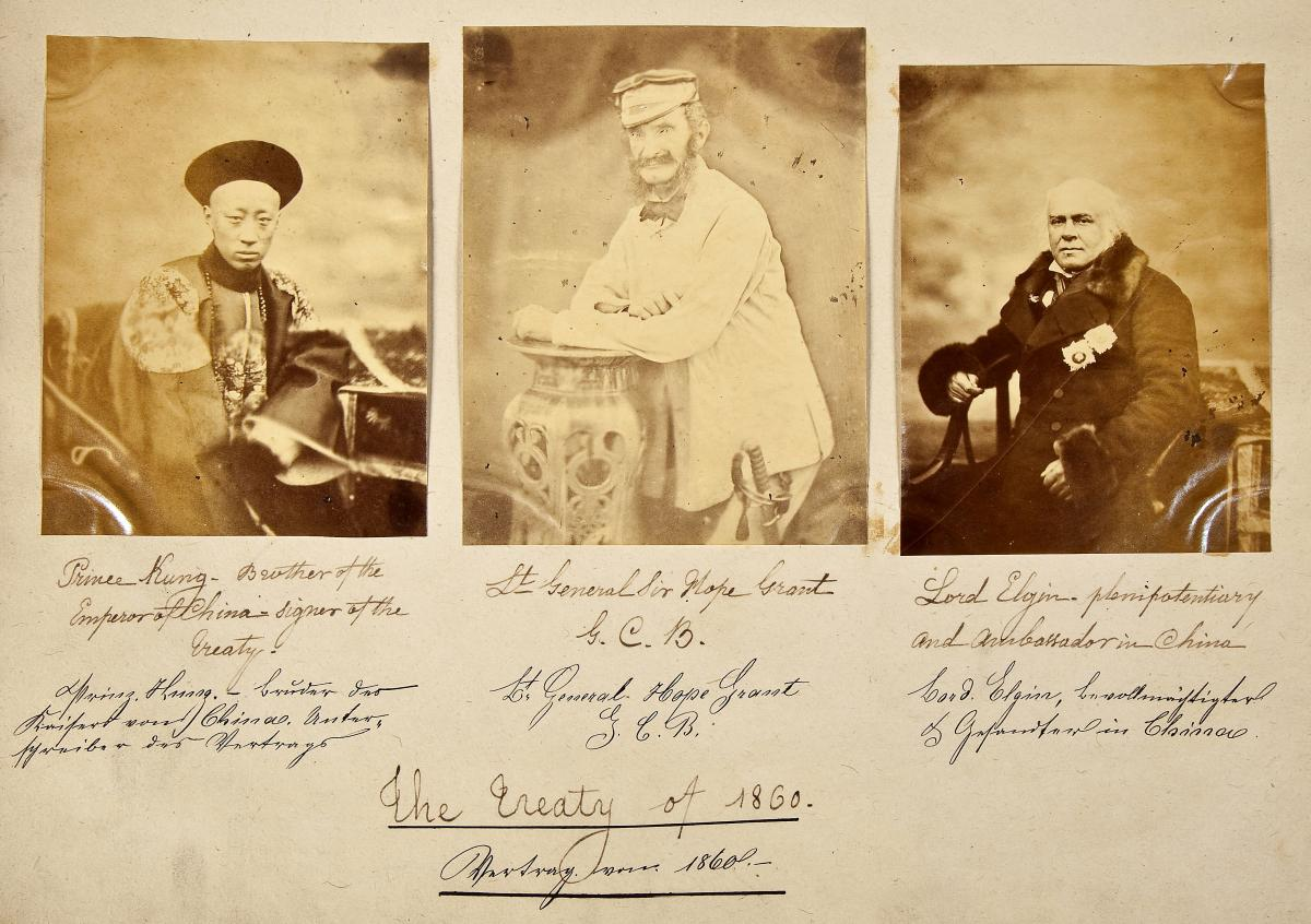 Portraits of Prince Kung, Lt. Gen. Sir Hope Grant & Lord Elgin, signers of the treaty of 1860 which ended The Second Opium War