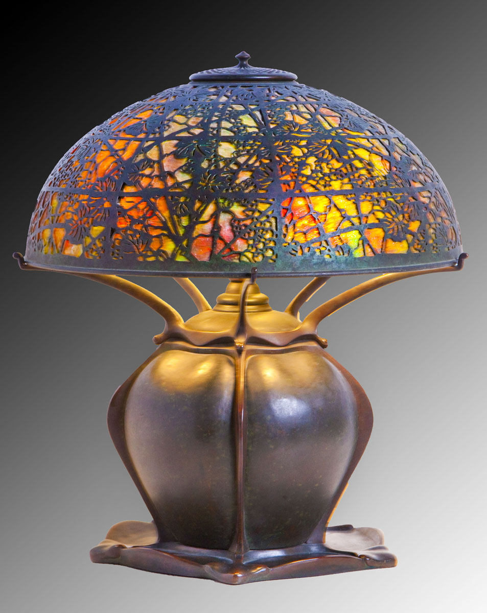 Tiffany Lamp with Grapevine Shade and Lily Pad Base ($8,000-12,000)