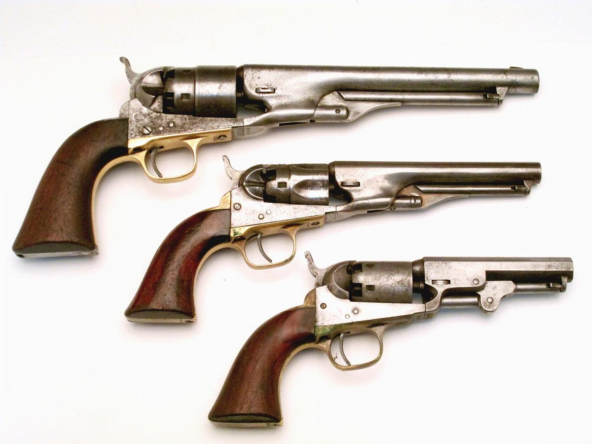 Top to Bottom Colt 1860 Army Revolver ($2,000-2,500), Colt 1862 Police Revolver ($600-900), Colt 1849 Pocket Revolver ($600-900)